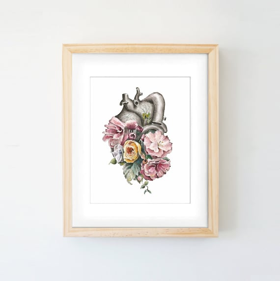Floral Anatomy Heart Print Of Watercolor Anatomical Art
