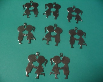 8 Vintage Kissing Boy and Girl Charms Jewelry and Craft Supplies