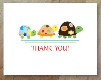 Turtle Friends, Thank You Cards, Set of 10 Blank Folded, Professionally Printed