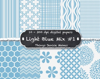 Light Blue Digital Paper  - 10 Pack 12 x 12 inches