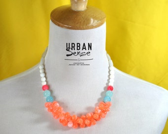 Tangerine Orange Drop  Statement Necklace, Bib Necklace, Bridesmaids Necklace, Fashion Party Necklace