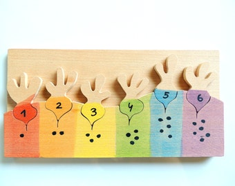 Toddler gift,Wood vegetables, Color learning game, Educational game, Wladorf, Montessori, learning numbers, sensory toy