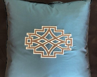 Blue Decorative Pillow with Applique