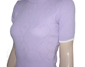 1950's  Pattern Argyle Sweater in Lilac - UK size 12 to 14