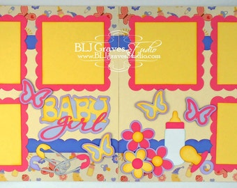 2 Premade Scrapbook Pages 12x12 Layout Paper Piecing Baby Girl Handmade 041P