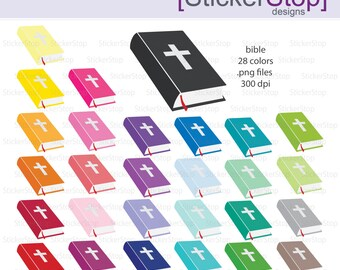 Bible Clipart 28 colors, PNG Digital Clipart - Instant download - bible study, church, prayer, easter, psalms, holy bible