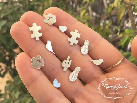 Assorted earrings, 999 fine silver, mood jewelry, summer earrings, handmade earrings, made in Italy, pineapple, hearts, birds, pawprint