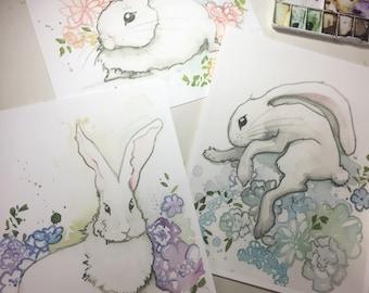 Archival Watercolor Bunny Rabbit Print