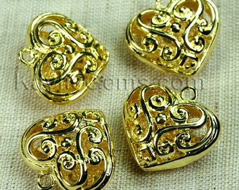 Filigree Heart Charms Gold Victorian Lacy Foral -4pcs