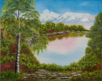 Landscape oil painting 'The Dawn', original oil painting, oil on canvas 80x100cm
