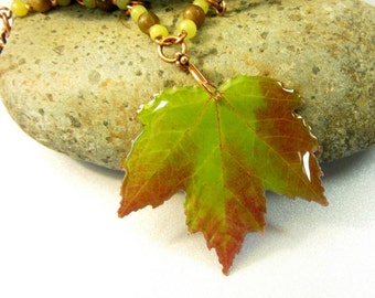 Real Leaf Pendant, Fall Leaf Necklace, Red and Green Leaf Jewelry, Resin Leaf, Autumn Leaf Pendant, Green Beads and Hammered Copper  Chain