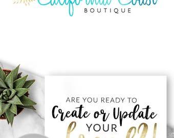 189 - California Coast, LO,GO Premade Logo Design, Branding, Blog Header, Blog Title, Business, Boutique, Custom, Blue, Gold