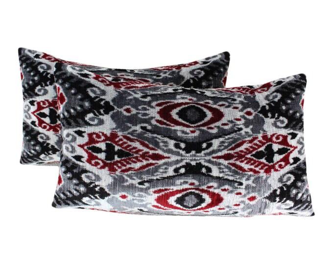 Set of 2 Silk Velvet Ikat Pillow Covers VP104s, Bohemian pillow, Velvet Ikat Pillow, Velvet Pillow, Velvet Pillow Cover, Ikat Pillows