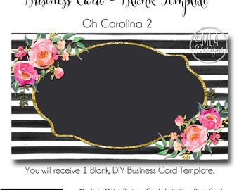 Striped Business Card Template - Oh Carolina 2- Made to Match Etsy Sets and Facebook  Covers, Business Card Template, Made to Match