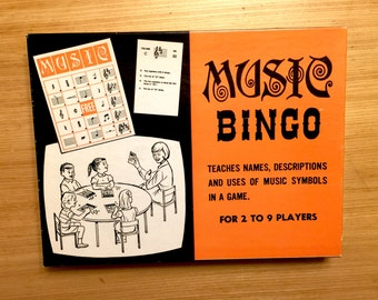 Vintage 1967 Music Bingo Game with Original Box in Like New Condition