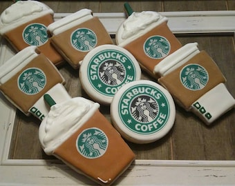 Coffee - Latte - Frappuccino - Starbucks themed cookies!  One Dozen