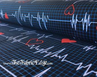 Heartbeat Fabric, Nurse Fabric, Dark, Call All Nurses, Fabric by the Yard, Windham Fabrics, Heartbeat monitor, BTY, TheFabricEdge