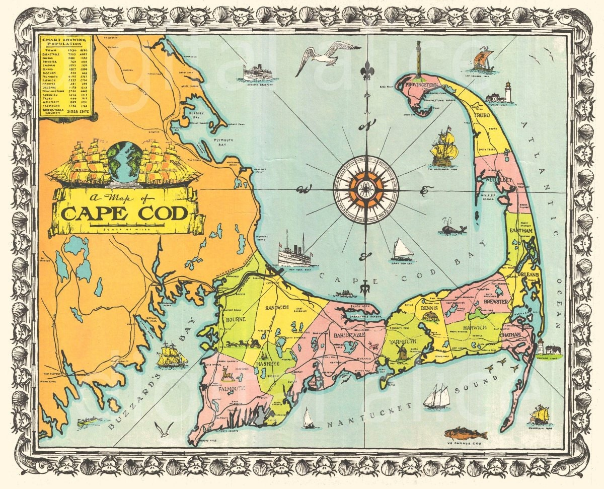 🔎zoom. old cape cod map download colorful  cape cod mass