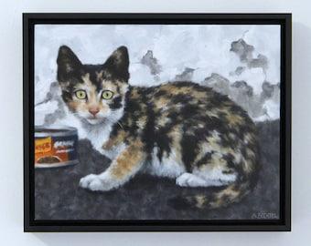 Kitten Painting Original Framed Art Oil Painting Framed Wall Art by Sarah Becktel