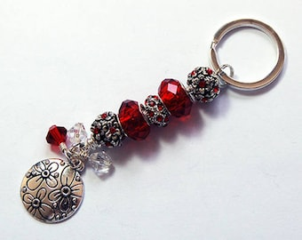 Flower Keychain, Red Beaded keyring, Gift under 20, Stocking Stuffer, Beaded Keychain, Keychain for women, Gift for her, floral (8053)