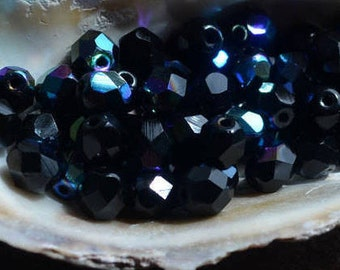 25 pc Czech firepolish glass beads 6mm Jet AB