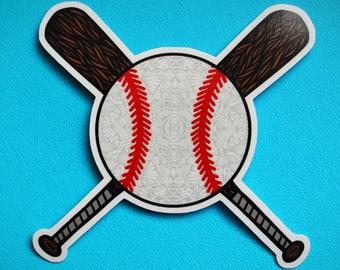 Baseball with Bats Sticker