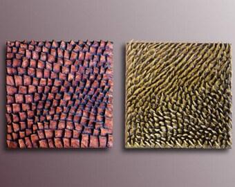 Wall Art Set - Abstract Wall Sculpture - 3D Wall Art - Set of 2 Wood Wall Decor - Wall Art Diptych- Textured Wall Art - Metal Paintings & Textured wall art | Etsy