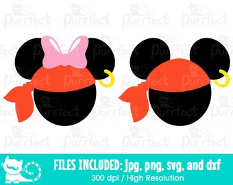 Mickey and Minnie Halloween Pirates SVG, Disney Pirates SVG, Disney Digital Cut Files in svg, dxf, png and jpg, Printable Clipart