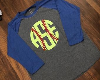 Next Level brand Softball initial Raglan