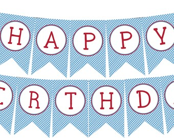 INSTANT DOWNLOAD Little Red Wagon Happy Birthday Banner--DIY Printable;   Red Wagon Blue Gingham Vintage
