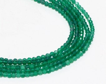 "GU-0615-1 - Green Onyx Faceted Round Beads - Gemstone Beads - 4mm - Full 16"" Strand"