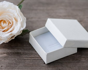 "Vanilla Jewelry Box 60mm (2.4"") Eco Friendly Cardboard Earrings Box Gift Box Paper Box Ivory Small Jewelry Gift Box Packaging Supplies"
