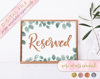 Reserved Sign, Printable, Reserved Seat Sign, Reserved Sign Wedding, Reserved Family Sign, Reserved Row Sign, Reserved Table Sign, Greenery