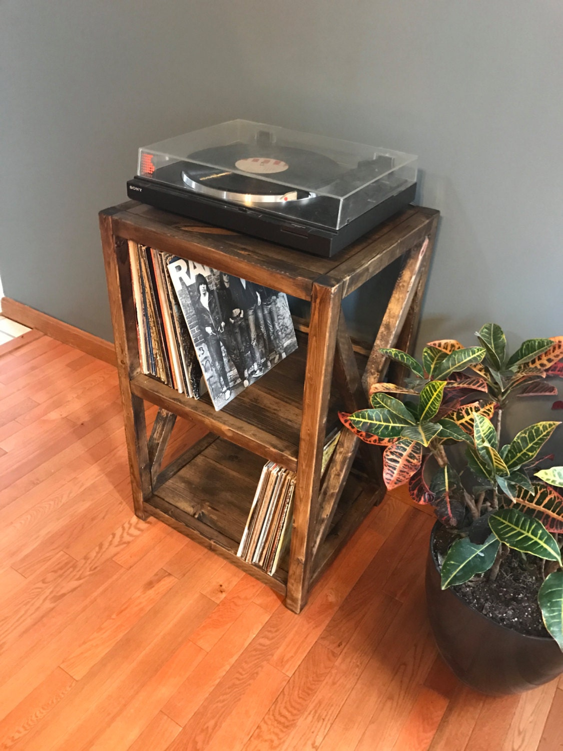 rustic record player stand record shelves record player - 🔎zoom