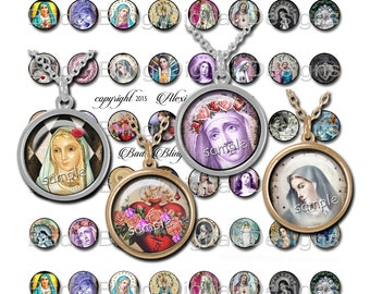 18mm circles,Antique Prayer Cards, Holy Cards, INSTANT Download, religious pendants,religious collage sheets,vintage Madonna,Catholic images