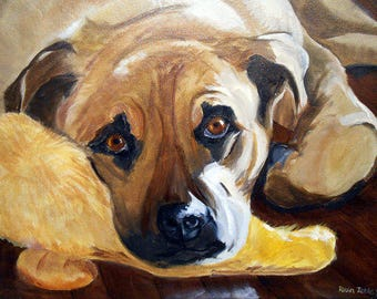Pet Portrait Animal Art, Hand Painted Custom Oil Painting on Canvas, Artist Robin Zebley