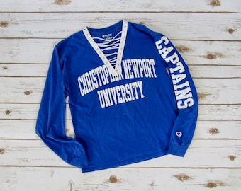 VINTAGE Christopher Newport University Lace-Up Long Sleeve Tee (S)