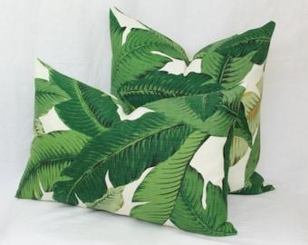 Palm leaf Banana leaf Tropical outdoor pillow cover 18x18 20x20 22x22 24x24 26x26 Euro sham Lumbar 12x20 12x24 14x26 16x26 Tommy Bahama