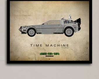 DeLorean Time Machine (Part II) Print | 18 x 24 | Digital, Wall Decor, Poster Print, Vintage Modern
