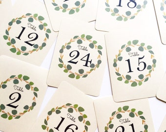 Silver Dollar Gold Eucalyptus Leaf Wreath Table Numbers, Calligraphy