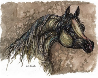 the grey arabian horse watercolor painting
