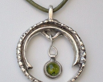 Good Luck Horseshoe Pendant Necklace Cast in Sterling Silver; One-of-kind Design; Gift for her; Workplace Jewelry; Green Leather Cord