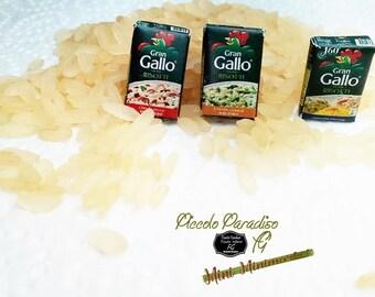 Italian Miniature Food, Handmade, confezioni a scelta di riso Gallo per risotti in miniatura dolls house  in scala 1:12