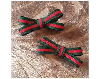 Girls Green & Red Stripe Bow Hair Clips