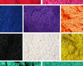 10 Colors MIca Shimmer Pigment Cosmetic Powder For Soap Making Mineral Make Up Powder Craft 3g each or Teaspoon each 5 Grams