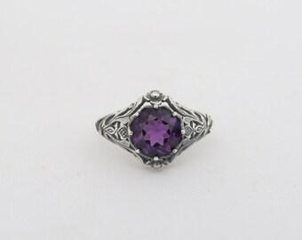 Vintage Sterling Silver Amethyst Filigree Ring Size 8