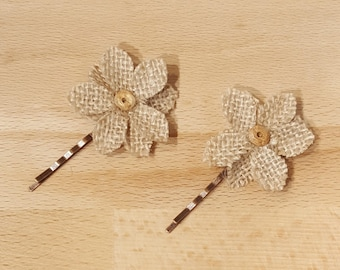 Set of Two Handmade Burlap Floral Hairpins by FairyLace Designs