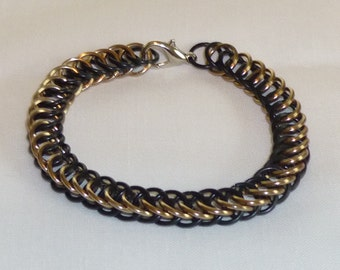 Half Persian Black/Champagne Chainmaille Bracelet