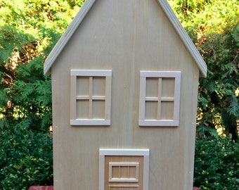 Three Story Dollhouse, Wooden Doll House, Wooden Peg Doll House, Handcrafted Dollhouse, Natural Finished Doll House