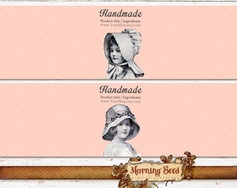 "Soap packaging template Victorian wrapper 2 designs - Easy to edit - 8 x 2"" - Candle band"